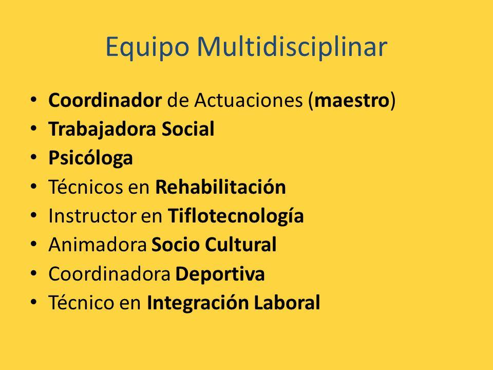 Equipo Multidisciplinar Coordinador de Actuaciones (maestro) Trabajadora Social Psicóloga Técnicos en Rehabilitación Instructor en Tiflotecnología Ani