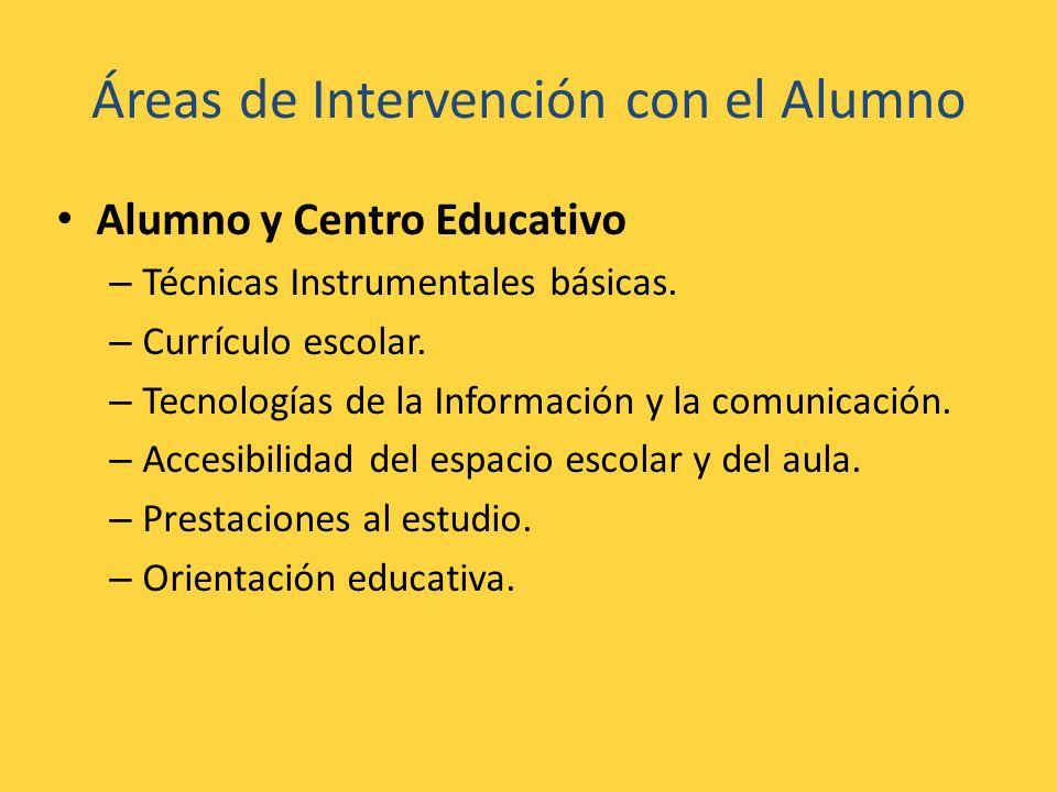 Áreas de Intervención con el Alumno Alumno y Centro Educativo – Técnicas Instrumentales básicas. – Currículo escolar. – Tecnologías de la Información