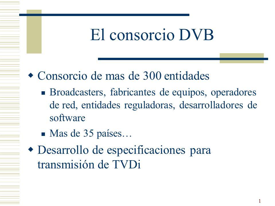 1 El consorcio DVB Consorcio de mas de 300 entidades Broadcasters, fabricantes de equipos, operadores de red, entidades reguladoras, desarrolladores d