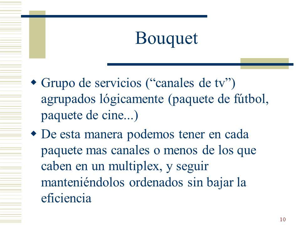 10 Bouquet Grupo de servicios (canales de tv) agrupados lógicamente (paquete de fútbol, paquete de cine...) De esta manera podemos tener en cada paque