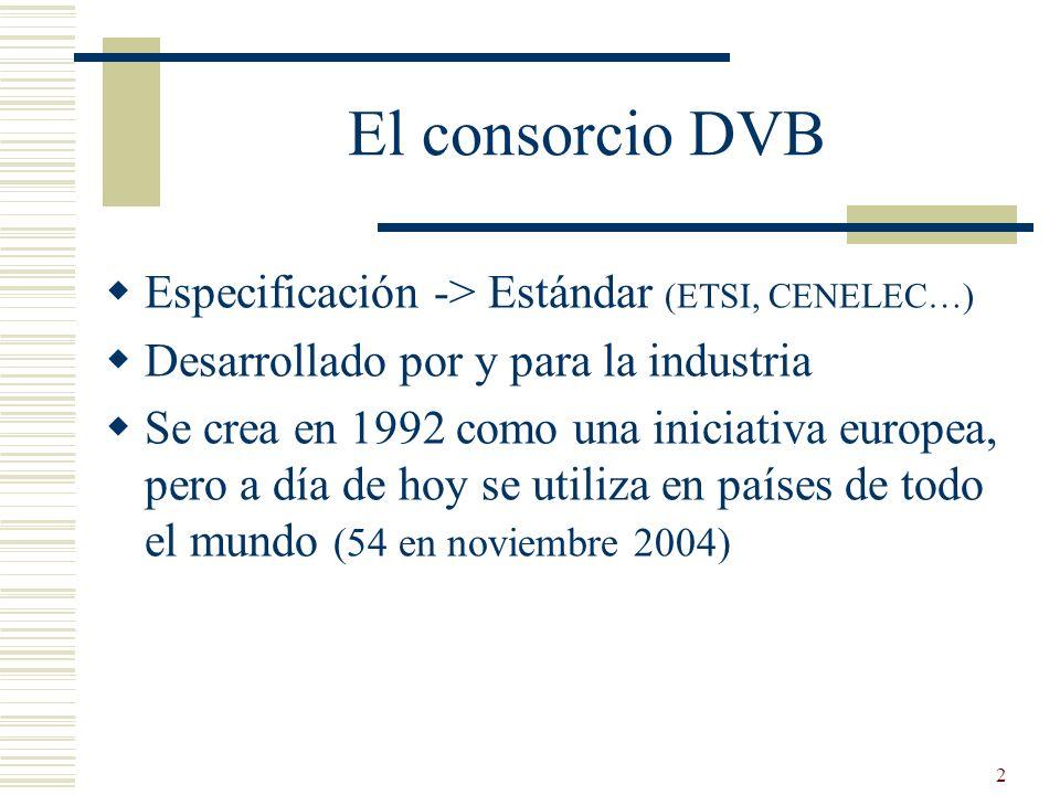 2 El consorcio DVB Especificación -> Estándar (ETSI, CENELEC…) Desarrollado por y para la industria Se crea en 1992 como una iniciativa europea, pero