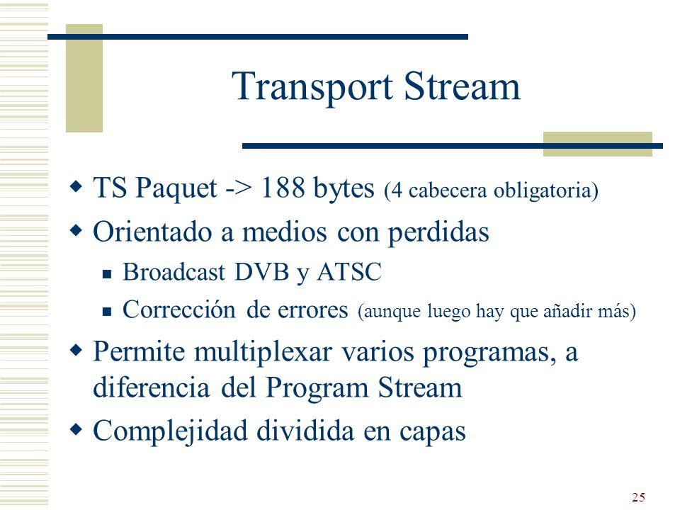 25 Transport Stream TS Paquet -> 188 bytes (4 cabecera obligatoria) Orientado a medios con perdidas Broadcast DVB y ATSC Corrección de errores (aunque