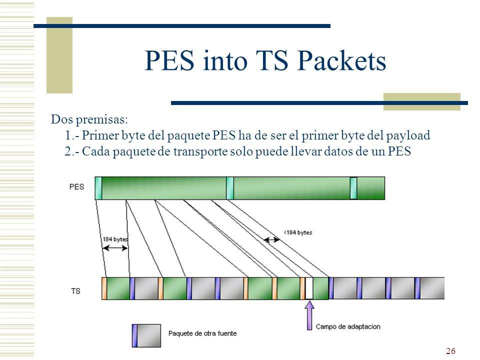 26 PES into TS Packets Dos premisas: 1.- Primer byte del paquete PES ha de ser el primer byte del payload 2.- Cada paquete de transporte solo puede ll