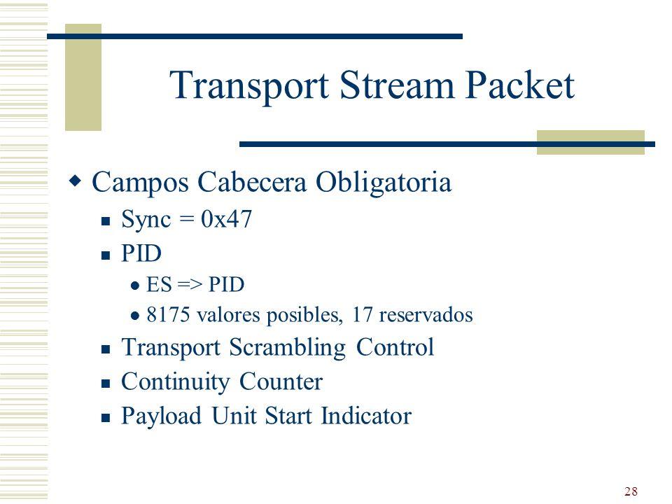 28 Transport Stream Packet Campos Cabecera Obligatoria Sync = 0x47 PID ES => PID 8175 valores posibles, 17 reservados Transport Scrambling Control Con