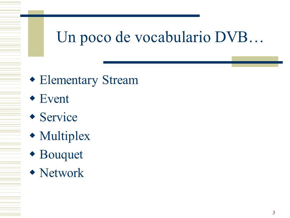 34 NIT (Network Information Table) Es una Tabla Opcional Transporta información de red (tipo de modulación, frecuencia…) PID Fijo en DVB (PID = 0x10) Determinado por la PAT en MPEG-2 (en caso de estar presente conforma el programa 0 del TS)