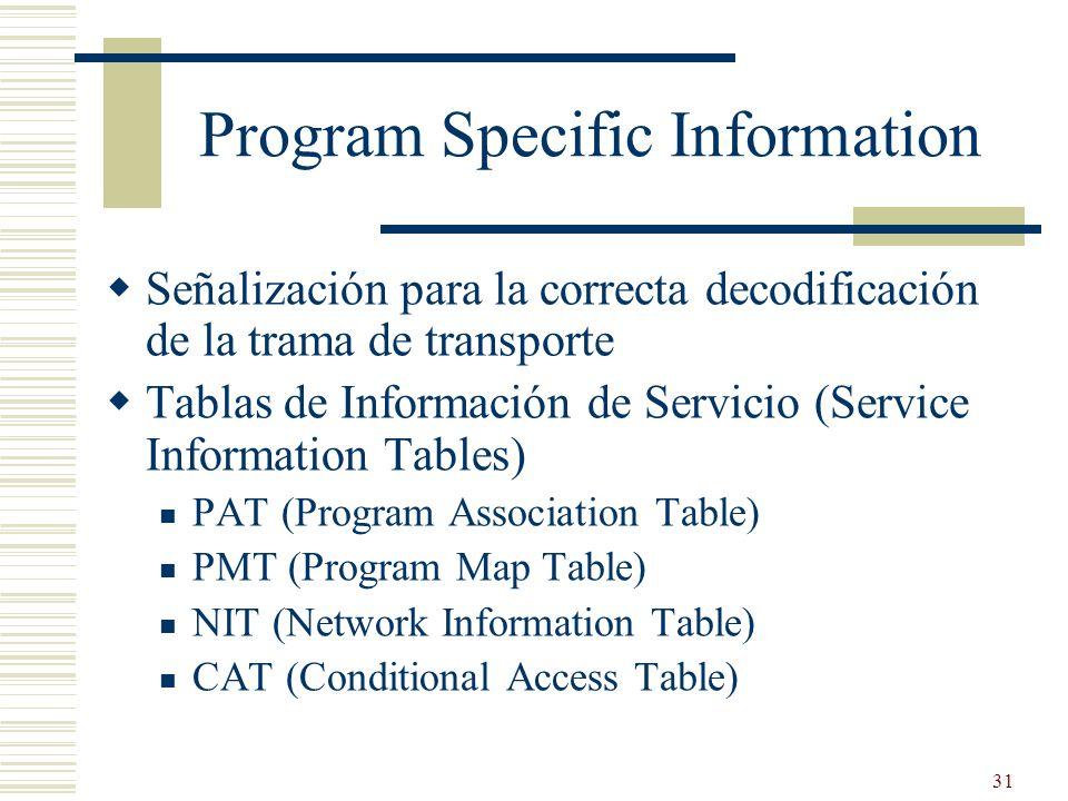 31 Program Specific Information Señalización para la correcta decodificación de la trama de transporte Tablas de Información de Servicio (Service Info