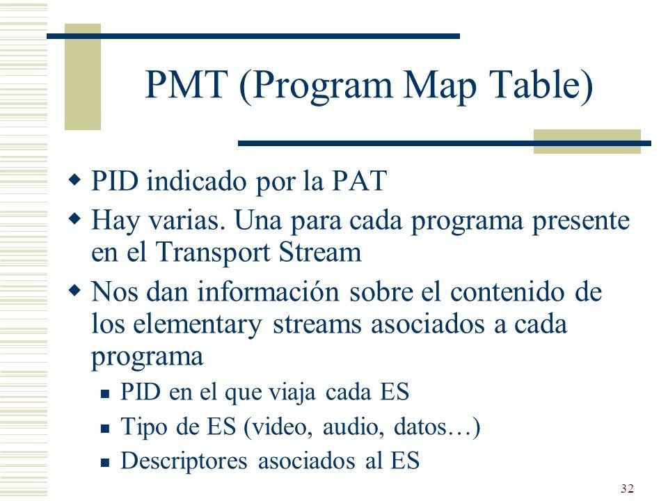 32 PMT (Program Map Table) PID indicado por la PAT Hay varias. Una para cada programa presente en el Transport Stream Nos dan información sobre el con