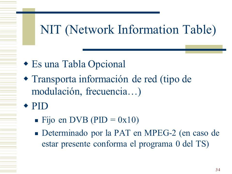 34 NIT (Network Information Table) Es una Tabla Opcional Transporta información de red (tipo de modulación, frecuencia…) PID Fijo en DVB (PID = 0x10)