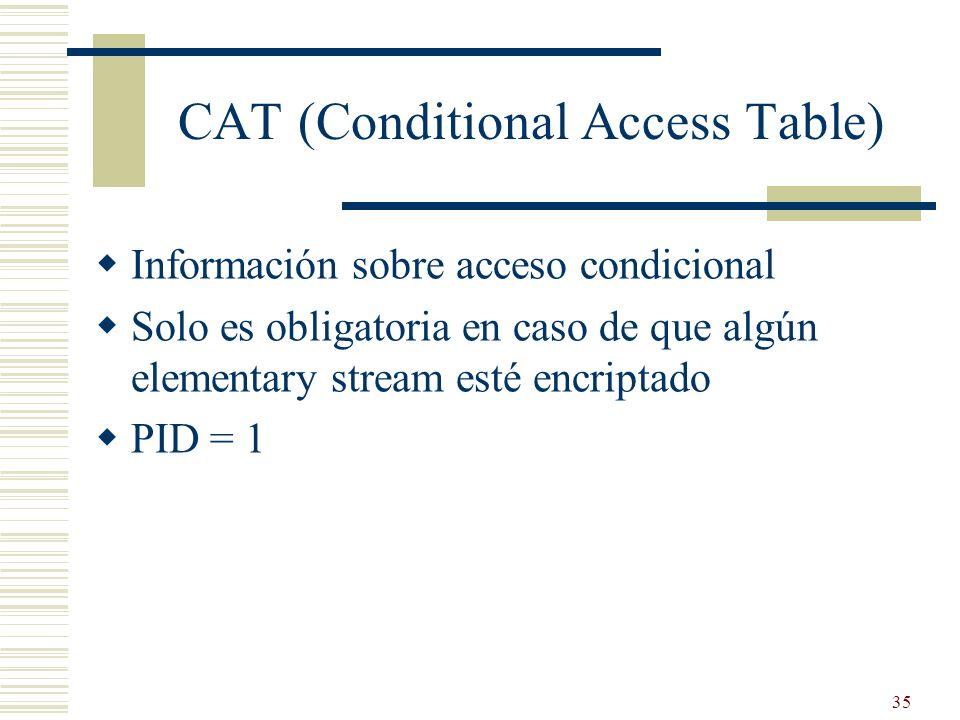 35 CAT (Conditional Access Table) Información sobre acceso condicional Solo es obligatoria en caso de que algún elementary stream esté encriptado PID