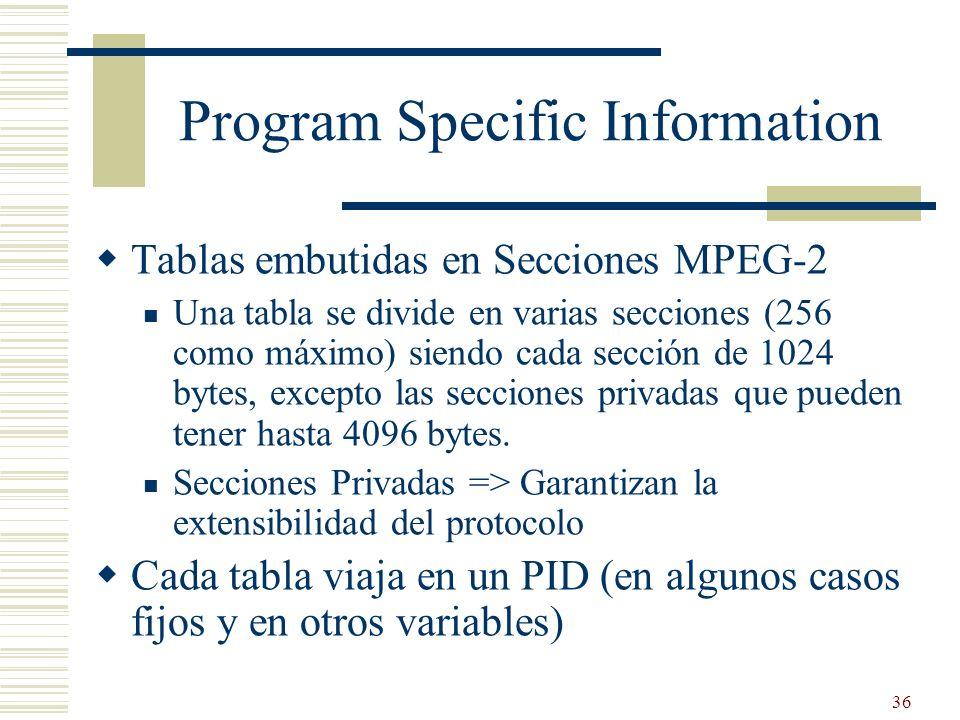 36 Program Specific Information Tablas embutidas en Secciones MPEG-2 Una tabla se divide en varias secciones (256 como máximo) siendo cada sección de