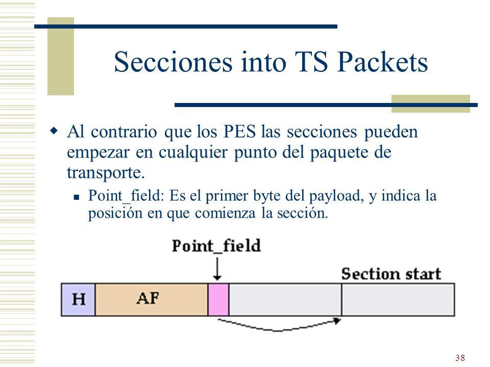 38 Secciones into TS Packets Al contrario que los PES las secciones pueden empezar en cualquier punto del paquete de transporte. Point_field: Es el pr