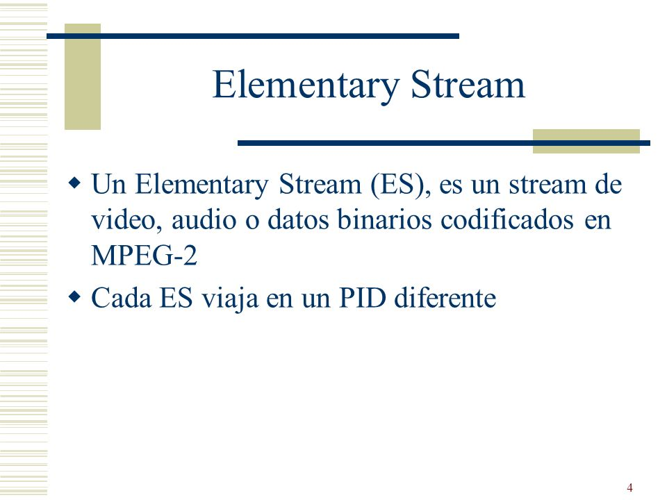 25 Transport Stream TS Paquet -> 188 bytes (4 cabecera obligatoria) Orientado a medios con perdidas Broadcast DVB y ATSC Corrección de errores (aunque luego hay que añadir más) Permite multiplexar varios programas, a diferencia del Program Stream Complejidad dividida en capas