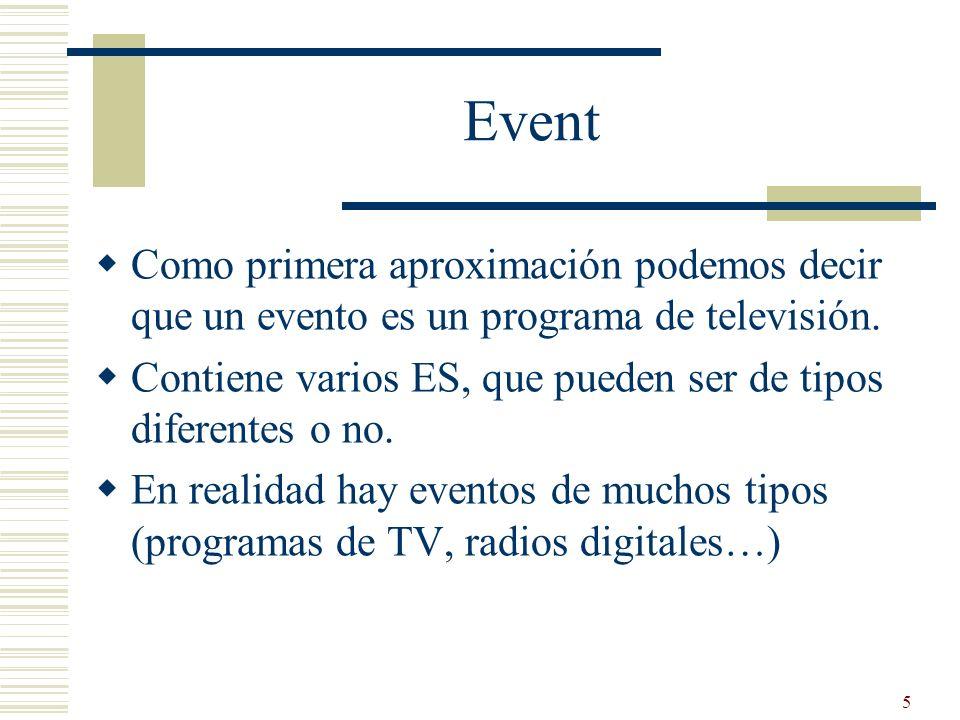 5 Event Como primera aproximación podemos decir que un evento es un programa de televisión. Contiene varios ES, que pueden ser de tipos diferentes o n