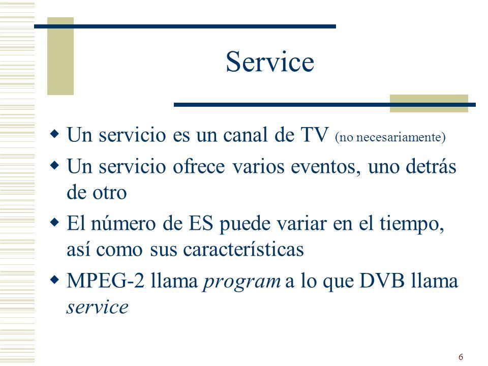 6 Service Un servicio es un canal de TV (no necesariamente) Un servicio ofrece varios eventos, uno detrás de otro El número de ES puede variar en el t