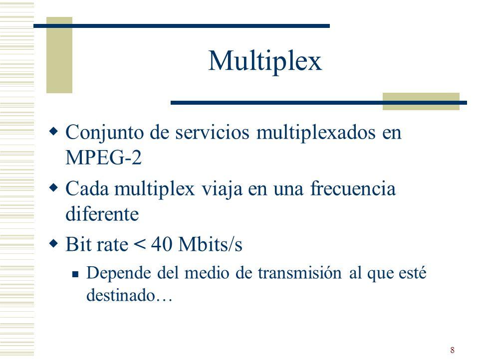 8 Multiplex Conjunto de servicios multiplexados en MPEG-2 Cada multiplex viaja en una frecuencia diferente Bit rate < 40 Mbits/s Depende del medio de