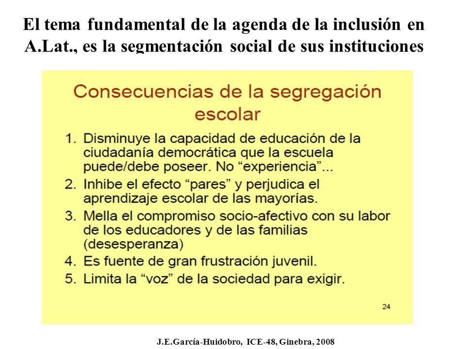 El tema fundamental de la agenda de la inclusión en A.Lat., es la segmentación social de sus instituciones J.E.García-Huidobro, ICE-48, Ginebra, 2008