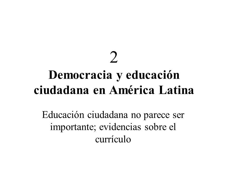 2 Democracia y educación ciudadana en América Latina Educación ciudadana no parece ser importante; evidencias sobre el currículo