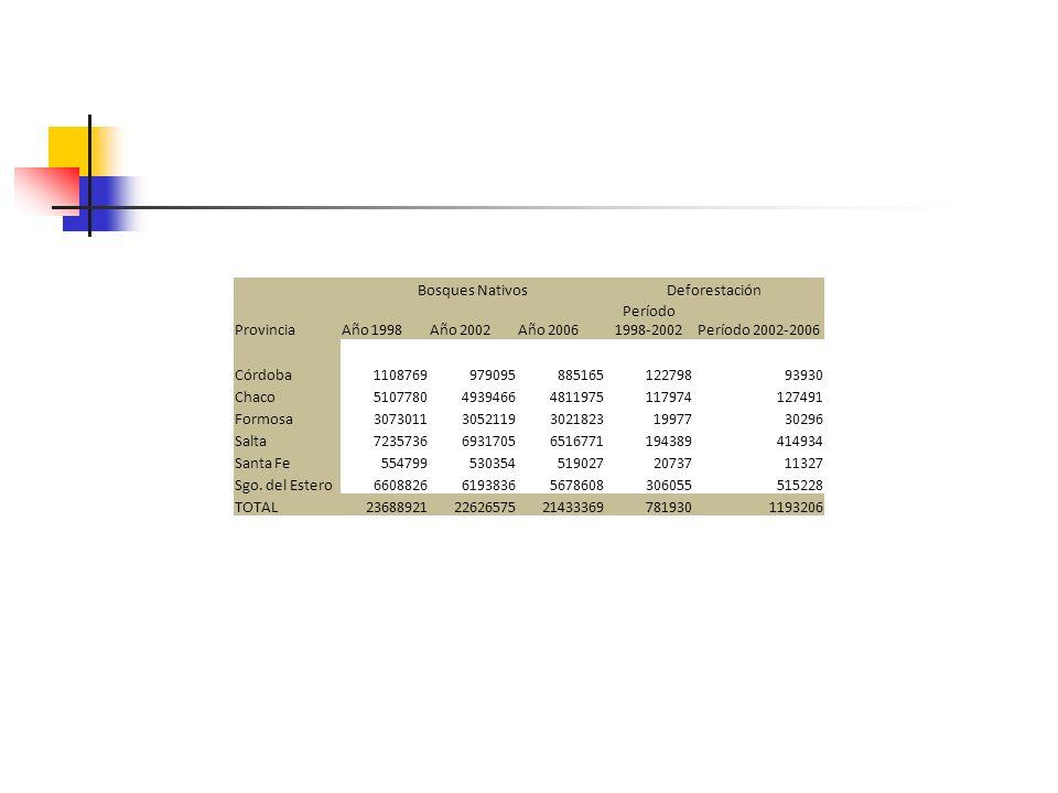 Bosques NativosDeforestación ProvinciaAño 1998Año 2002Año 2006 Período 1998-2002Período 2002-2006 Córdoba110876997909588516512279893930 Chaco510778049