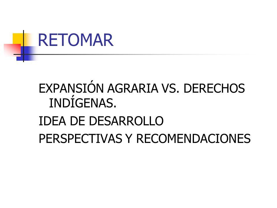 RETOMAR EXPANSIÓN AGRARIA VS. DERECHOS INDÍGENAS. IDEA DE DESARROLLO PERSPECTIVAS Y RECOMENDACIONES