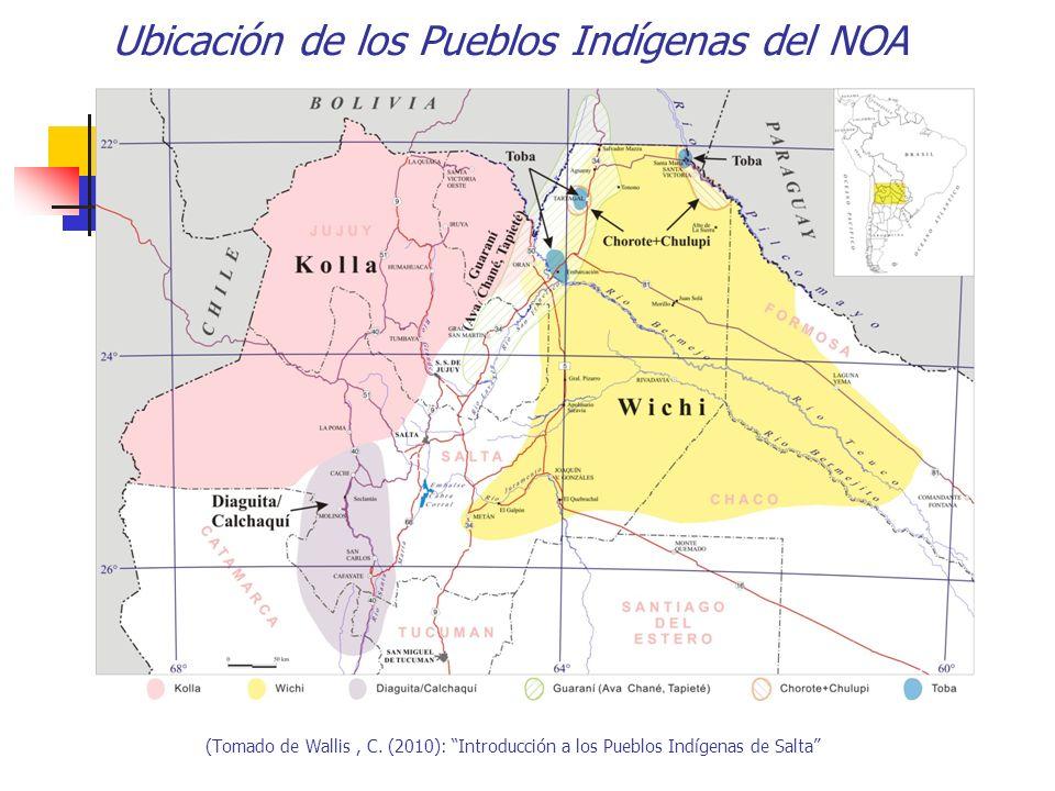 Ubicación de los Pueblos Indígenas del NOA (Tomado de Wallis, C. (2010): Introducción a los Pueblos Indígenas de Salta