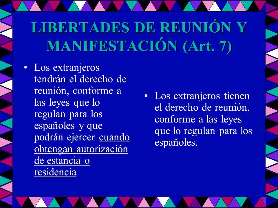 LIBERTADES DE REUNIÓN Y MANIFESTACIÓN (Art. 7) Los extranjeros tendrán el derecho de reunión, conforme a las leyes que lo regulan para los españoles y