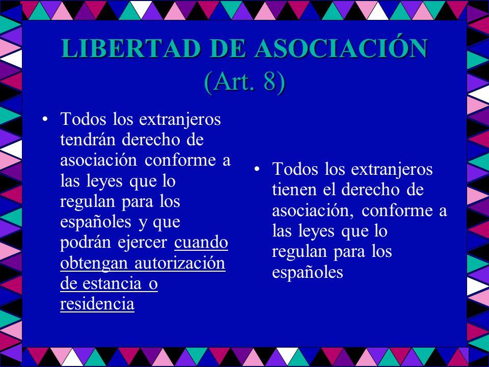 LIBERTAD DE ASOCIACIÓN (Art. 8) Todos los extranjeros tendrán derecho de asociación conforme a las leyes que lo regulan para los españoles y que podrá