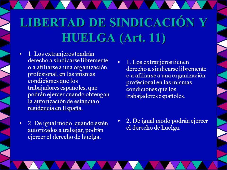 LIBERTAD DE SINDICACIÓN Y HUELGA (Art. 11) 1. Los extranjeros tendrán derecho a sindicarse libremente o a afiliarse a una organización profesional, en
