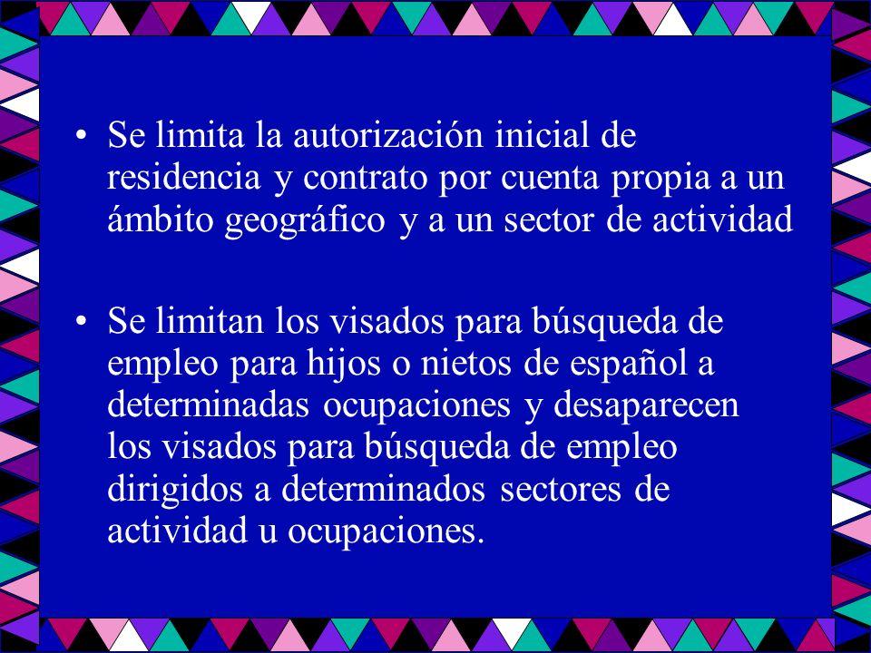 Se limita la autorización inicial de residencia y contrato por cuenta propia a un ámbito geográfico y a un sector de actividad Se limitan los visados