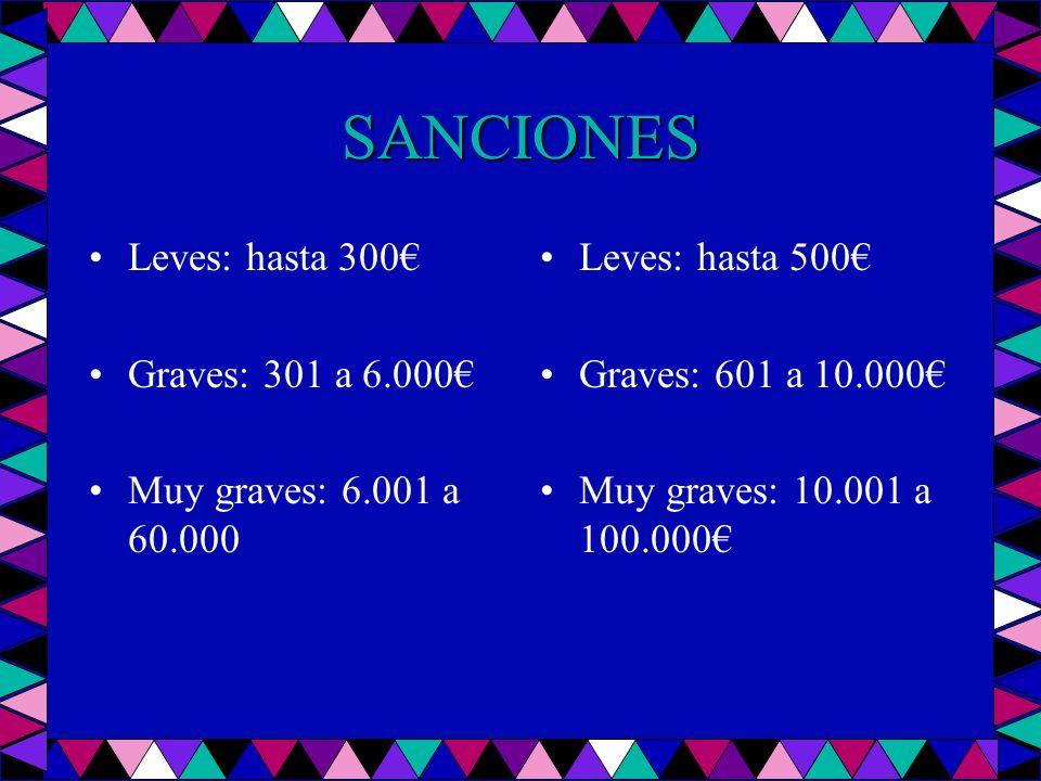 SANCIONES Leves: hasta 300 Graves: 301 a 6.000 Muy graves: 6.001 a 60.000 Leves: hasta 500 Graves: 601 a 10.000 Muy graves: 10.001 a 100.000