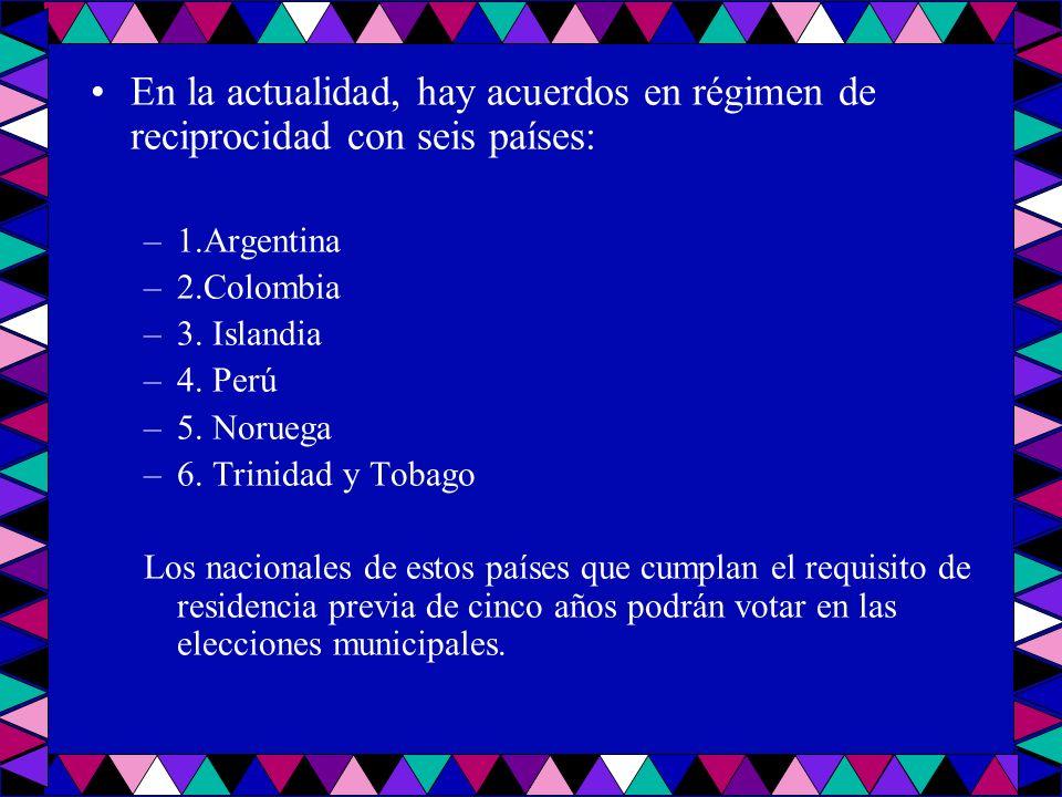En la actualidad, hay acuerdos en régimen de reciprocidad con seis países: –1.Argentina –2.Colombia –3. Islandia –4. Perú –5. Noruega –6. Trinidad y T