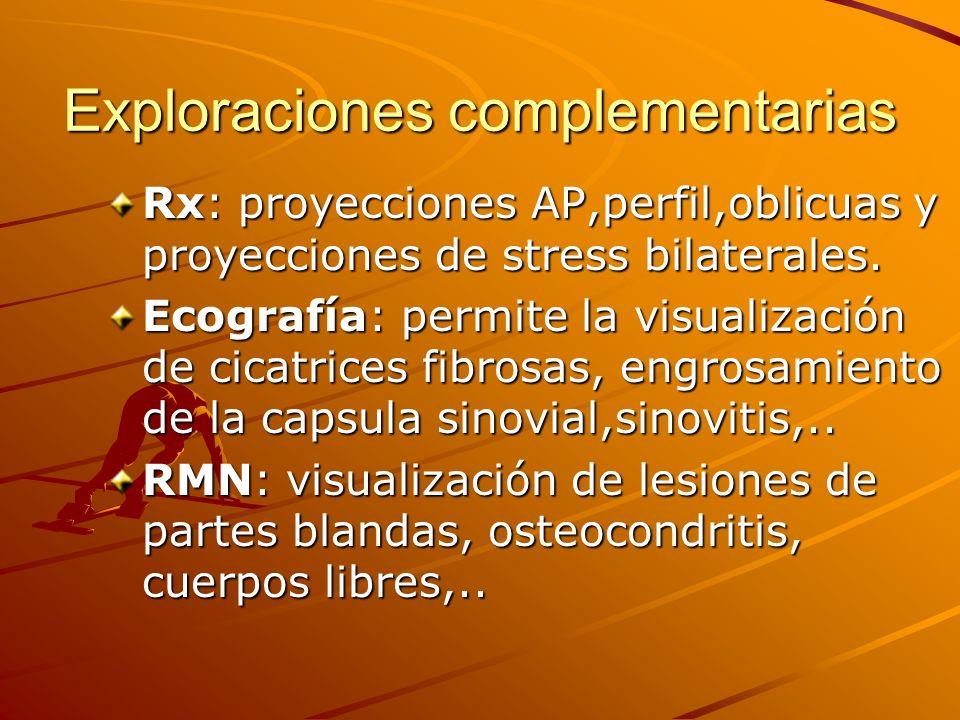 Exploraciones complementarias Rx: proyecciones AP,perfil,oblicuas y proyecciones de stress bilaterales. Ecografía: permite la visualización de cicatri