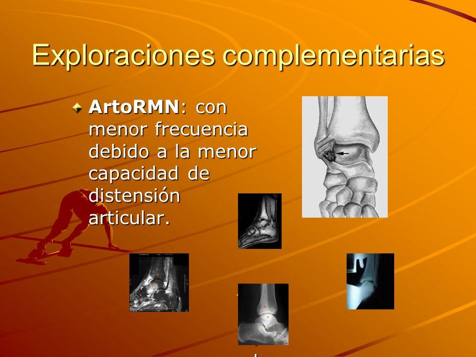 Exploraciones complementarias ArtoRMN: con menor frecuencia debido a la menor capacidad de distensión articular. Faltan fotosFaltan fotosFaltan fotosF