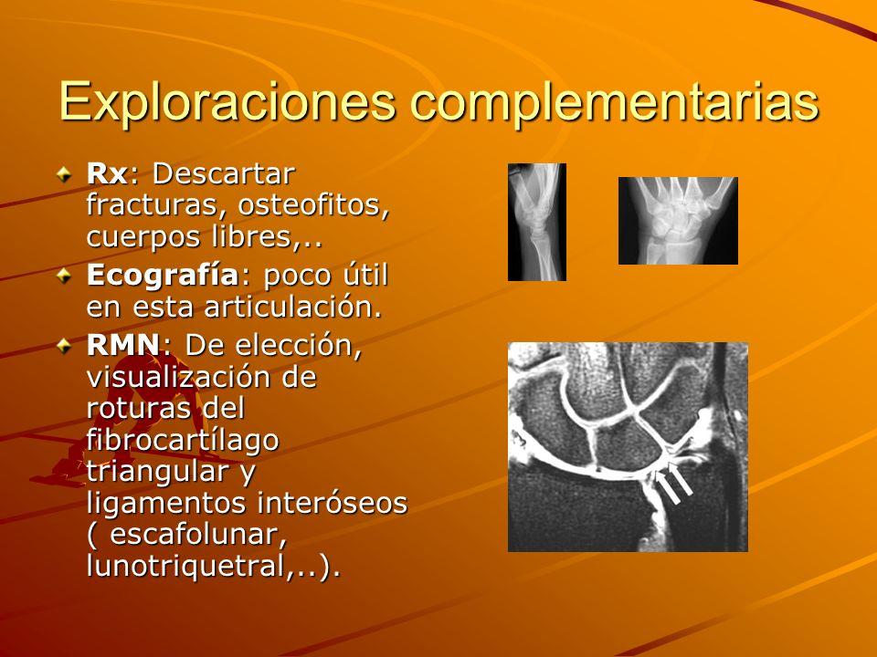 Exploraciones complementarias Rx: Descartar fracturas, osteofitos, cuerpos libres,.. Ecografía: poco útil en esta articulación. RMN: De elección, visu