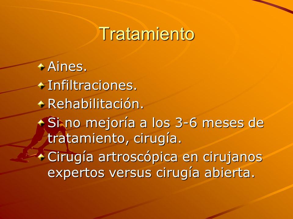 Tratamiento Aines.Infiltraciones.Rehabilitación. Si no mejoría a los 3-6 meses de tratamiento, cirugía. Cirugía artroscópica en cirujanos expertos ver