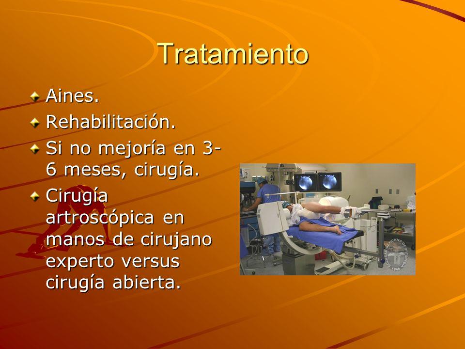Tratamiento Aines.Rehabilitación. Si no mejoría en 3- 6 meses, cirugía. Cirugía artroscópica en manos de cirujano experto versus cirugía abierta.
