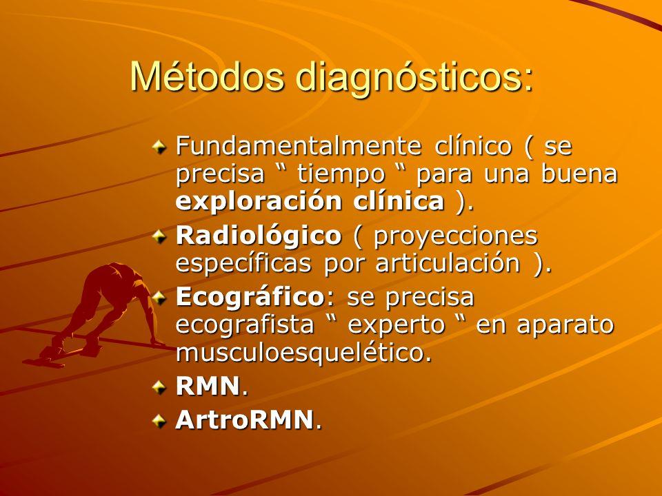 Métodos diagnósticos: Fundamentalmente clínico ( se precisa tiempo para una buena exploración clínica ). Radiológico ( proyecciones específicas por ar