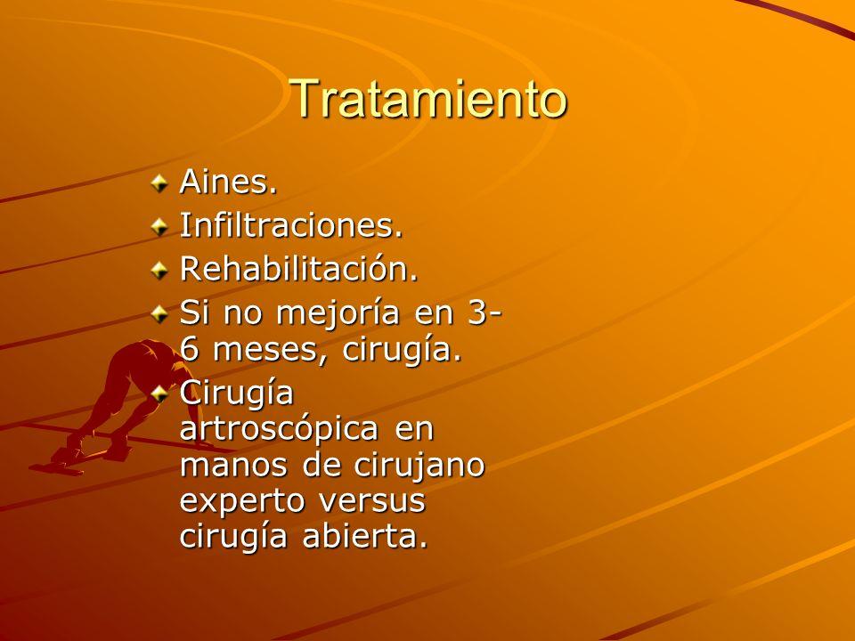 Tratamiento Aines.Infiltraciones.Rehabilitación. Si no mejoría en 3- 6 meses, cirugía. Cirugía artroscópica en manos de cirujano experto versus cirugí