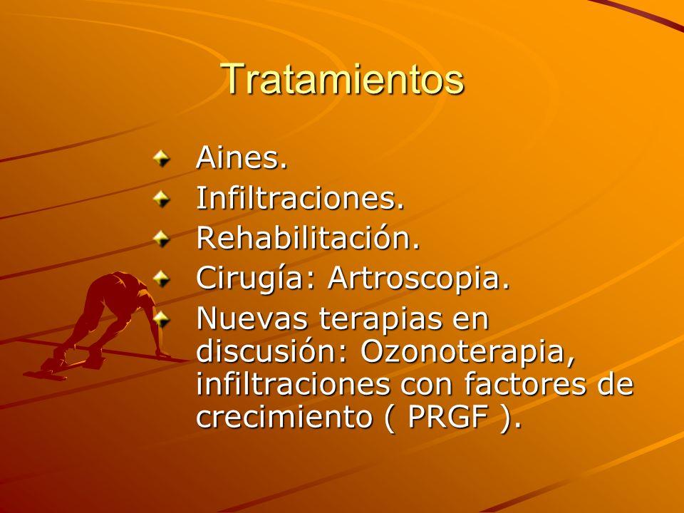 Tratamientos Aines.Infiltraciones.Rehabilitación. Cirugía: Artroscopia. Nuevas terapias en discusión: Ozonoterapia, infiltraciones con factores de cre