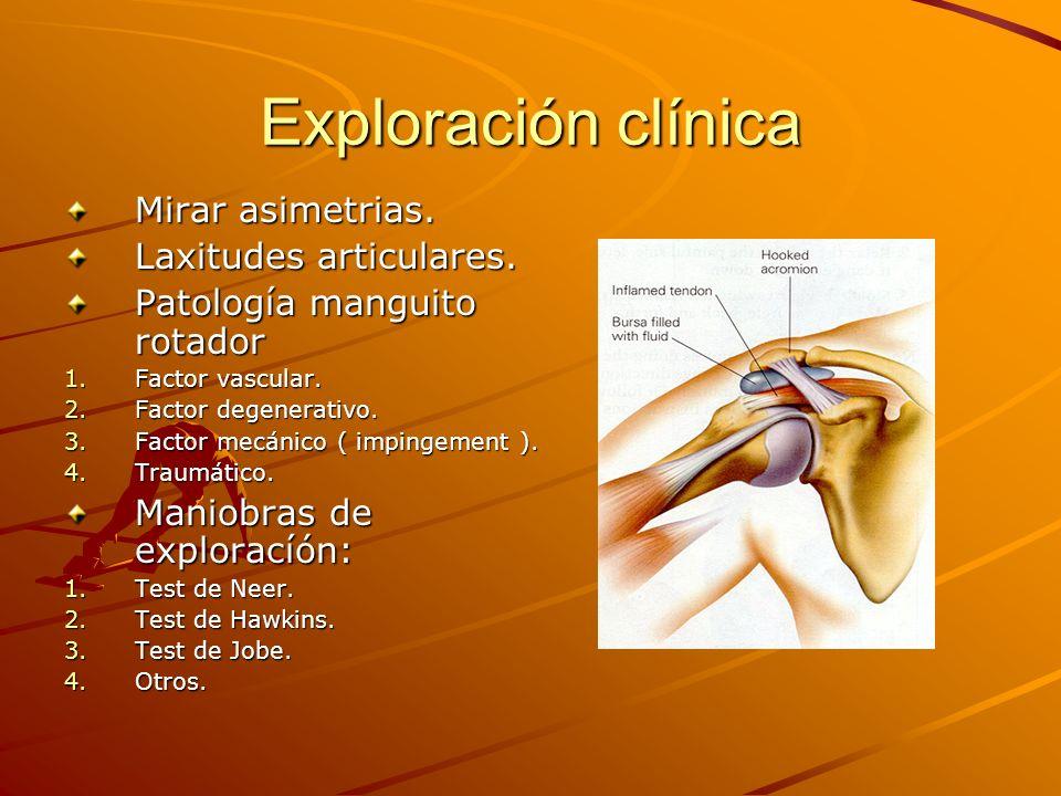 Exploración clínica Mirar asimetrias. Laxitudes articulares. Patología manguito rotador 1.Factor vascular. 2.Factor degenerativo. 3.Factor mecánico (