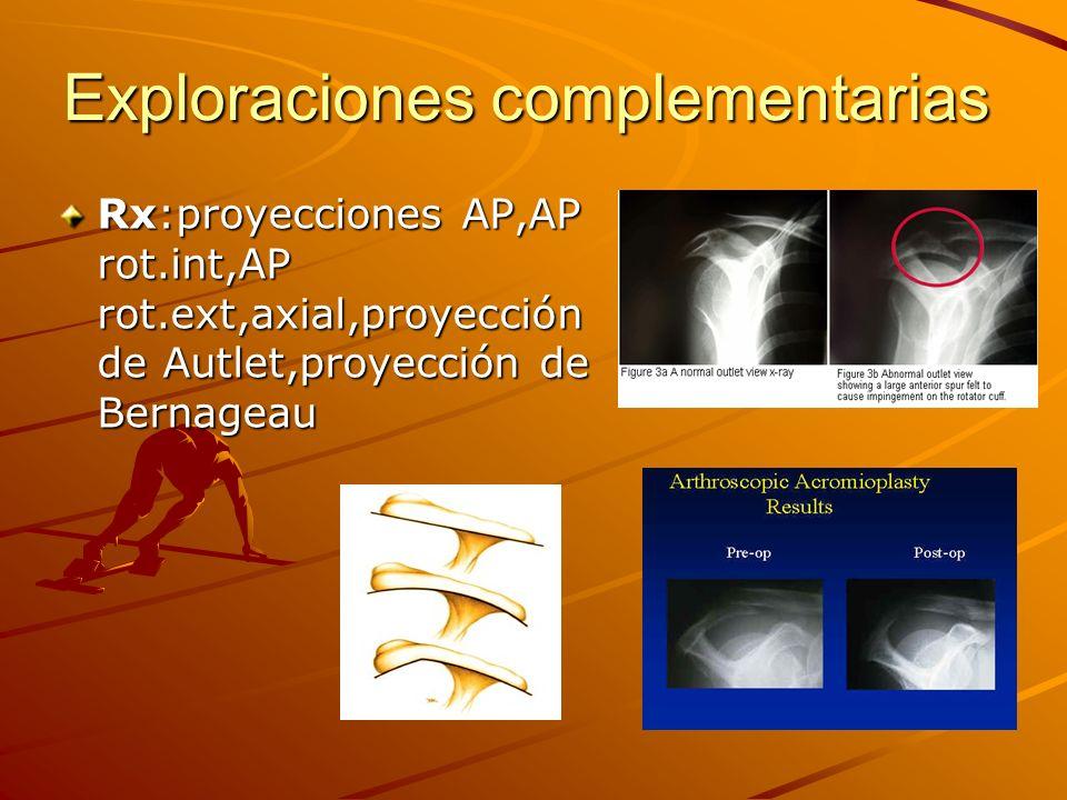 Exploraciones complementarias Rx:proyecciones AP,AP rot.int,AP rot.ext,axial,proyección de Autlet,proyección de Bernageau