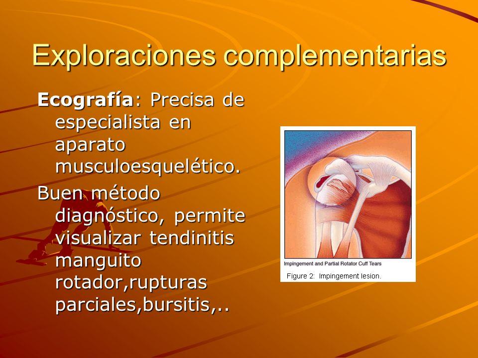 Exploraciones complementarias RMN: prueba confirmativa de lesiones de partes blandas, difícil visualización de lesiones de SLAP y capsula articular.