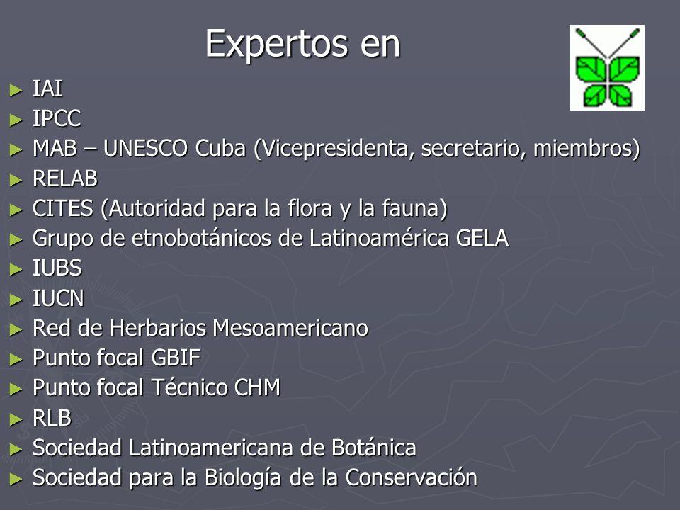 Expertos en Expertos en IAI IAI IPCC IPCC MAB – UNESCO Cuba (Vicepresidenta, secretario, miembros) MAB – UNESCO Cuba (Vicepresidenta, secretario, miembros) RELAB RELAB CITES (Autoridad para la flora y la fauna) CITES (Autoridad para la flora y la fauna) Grupo de etnobotánicos de Latinoamérica GELA Grupo de etnobotánicos de Latinoamérica GELA IUBS IUBS IUCN IUCN Red de Herbarios Mesoamericano Red de Herbarios Mesoamericano Punto focal GBIF Punto focal GBIF Punto focal Técnico CHM Punto focal Técnico CHM RLB RLB Sociedad Latinoamericana de Botánica Sociedad Latinoamericana de Botánica Sociedad para la Biología de la Conservación Sociedad para la Biología de la Conservación