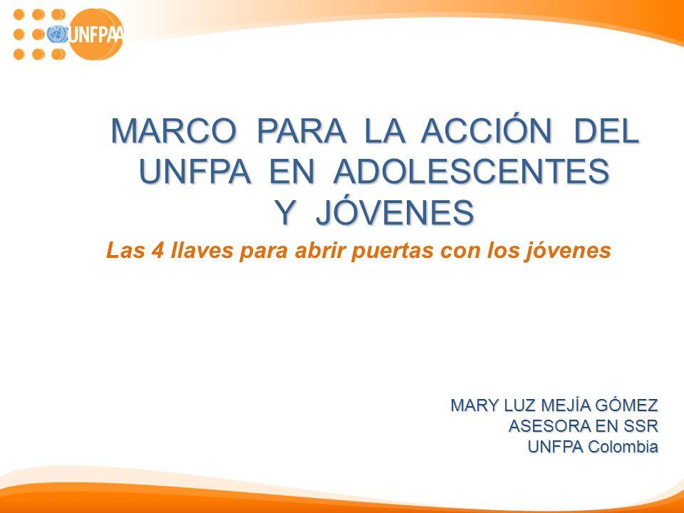 MARCO PARA LA ACCIÓN DEL UNFPA EN ADOLESCENTES Y JÓVENES Las 4 llaves para abrir puertas con los jóvenes MARY LUZ MEJÍA GÓMEZ ASESORA EN SSR UNFPA Col
