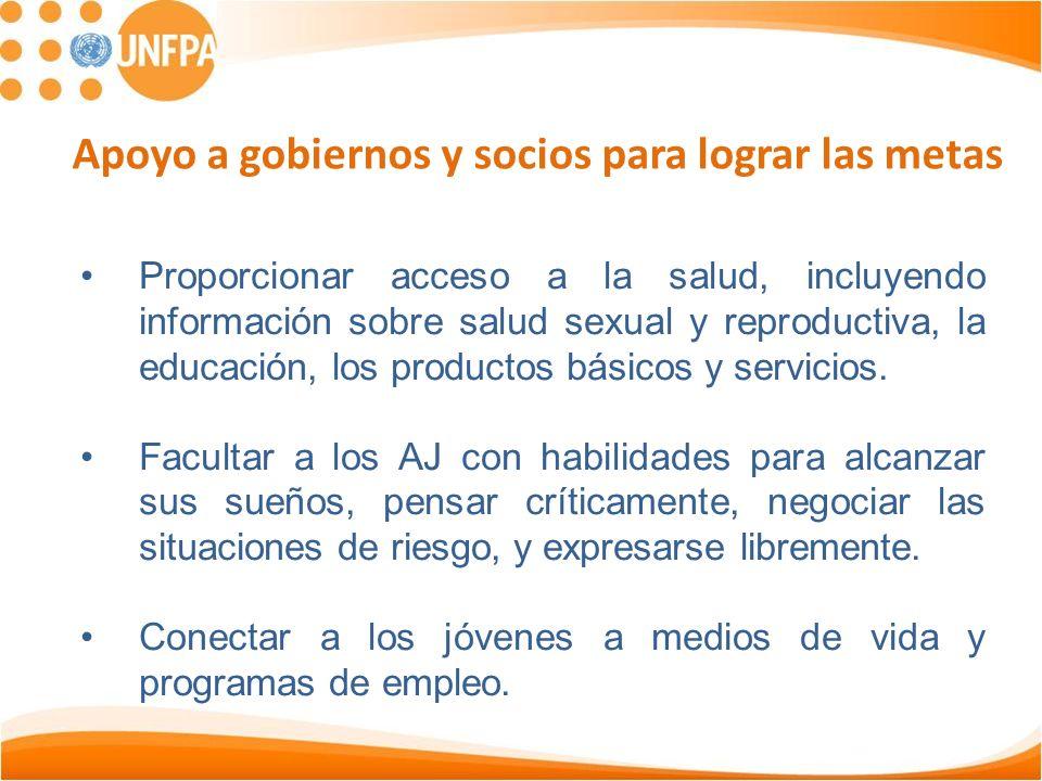 Proporcionar acceso a la salud, incluyendo información sobre salud sexual y reproductiva, la educación, los productos básicos y servicios.