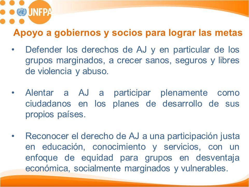 Defender los derechos de AJ y en particular de los grupos marginados, a crecer sanos, seguros y libres de violencia y abuso. Alentar a AJ a participar