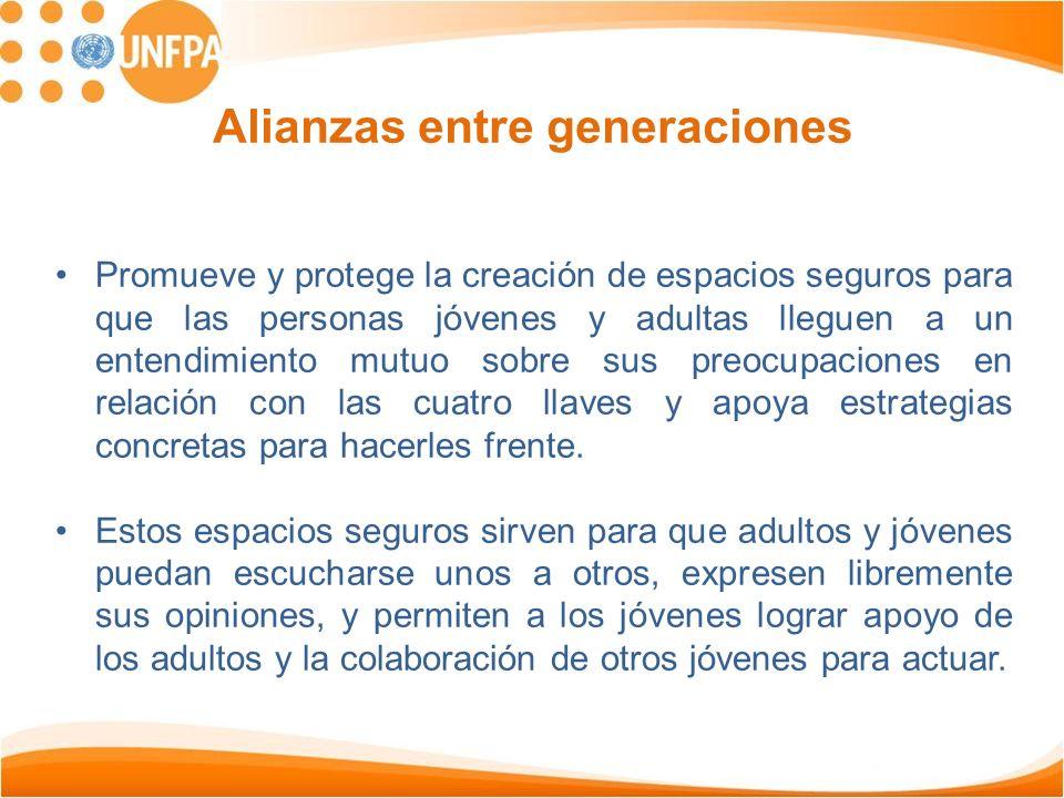 Alianzas entre generaciones Promueve y protege la creación de espacios seguros para que las personas jóvenes y adultas lleguen a un entendimiento mutu