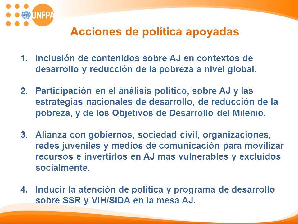 Acciones de política apoyadas 1.Inclusión de contenidos sobre AJ en contextos de desarrollo y reducción de la pobreza a nivel global. 2.Participación