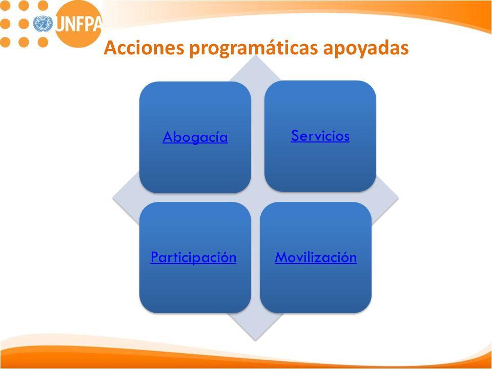 Acciones programáticas apoyadas AbogacíaServiciosParticipaciónMovilización