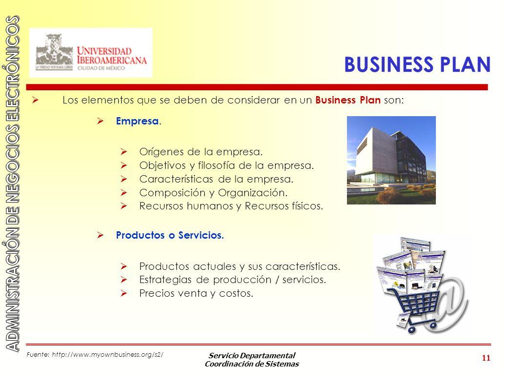 Servicio Departamental Coordinación de Sistemas 11 BUSINESS PLAN Los elementos que se deben de considerar en un Business Plan son: Empresa. Orígenes d