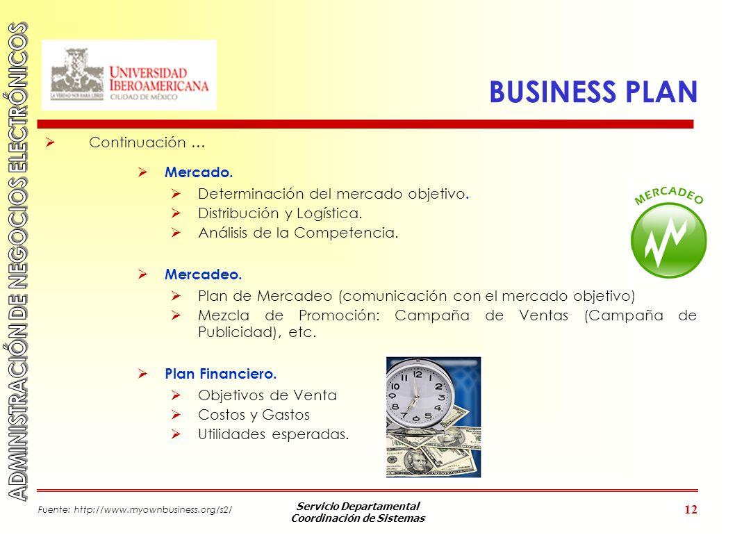 Servicio Departamental Coordinación de Sistemas 12 BUSINESS PLAN Continuación … Mercado. Determinación del mercado objetivo. Distribución y Logística.